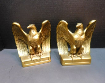 Two Brass Eagle Bookends by Craftsman