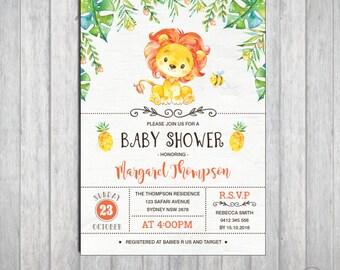 LION Baby Shower Invitation. Lion Party Invitation. First Birthday Invite. Jungle Invitation. Safari Boy Baby Shower. Safari Party. LIO1