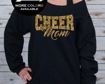 Cheer Mom Off Shoulder Raw Edge Sweatshirt for Women GLITTER, Mom Sweatshirt, Cheer Shirt, Cheerleader, Plus Sizes (Gold Glitter)