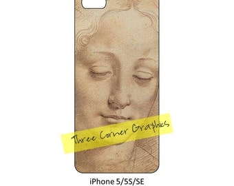 Fine art iPhone 5 cuttable printable case design (Leonardo, Head of a Woman); DIY print at home iPhone accessories for 5, 5S, or SE