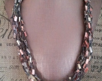 Peach and Gold Multi Strand Crocheted Ladder/Ribbon Yarn Necklace