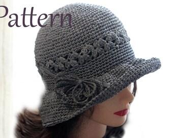 Crochet Hat Pattern, Crochet Hat Pattern for Women, Raffia Hat Pattern, Crochet Summer Hat Pattern in sizes Baby - Adult