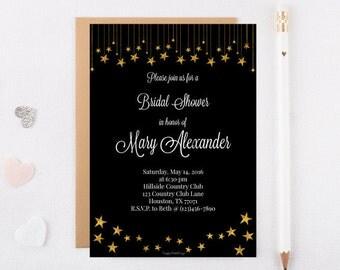 Bridal Shower invitation (5x7 digital file) black with gold stars