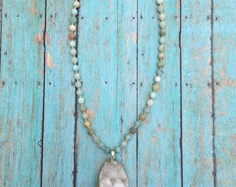 White Druzy Amazonite Necklace Gold