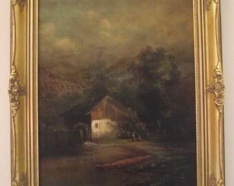 Carl Hampel (1887-1942) Australian Artist,  Mill scene. Reduced by 50%