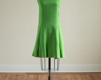 Vintage 1960s green and pink linen shift dress with cowl neck