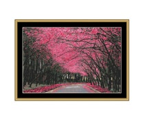Trees in Blossom Cross Stitch Pattern, Pink Canopy, Landscape Instant PDF Digital Download Counted Cross Stitch Chart, Embroidery Pattern