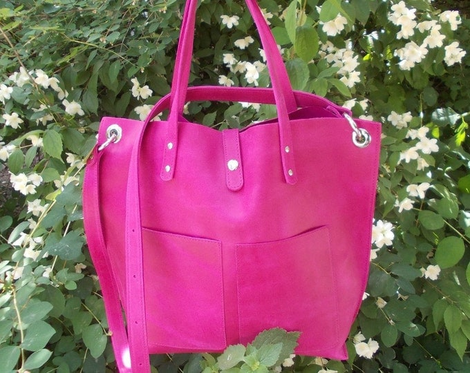 Pink Leather shopper Handmade Tote bag Leather Handbag Large tote bag Purple leather tote Tote bag with pockets Gift for her Gift for woman