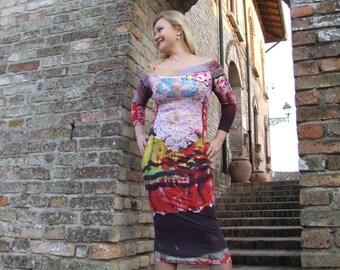 Floral cotton knitting dress.
