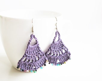 Earrings Handmade. Crochet Earrings for Women. Unique Crochet Jewelry. Crochet Earrings