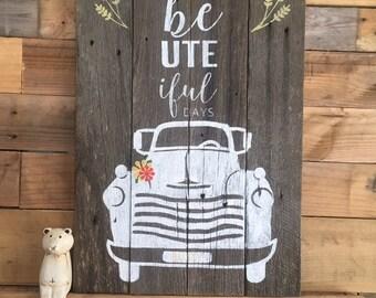 Rustic Ute Sign
