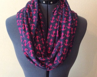 Anchor Infinity Scarf / Pink Anchors / Navy Blue Scarf / Pink Anchor Scarf / Flannel Scarf / Infinity Scarf / Nautical Scarf / Nautical