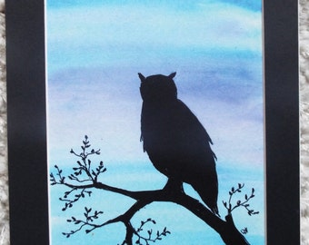 Matted Print of Silhouetted Owl