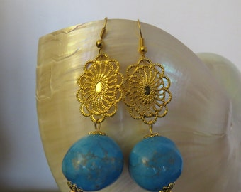 "Earrings ""Summer"" Turquoises and golden prints"