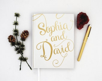 Wedding Guest Book Personalized Gold Guest Books Custom Guestbook Modern Wedding Script Wedding