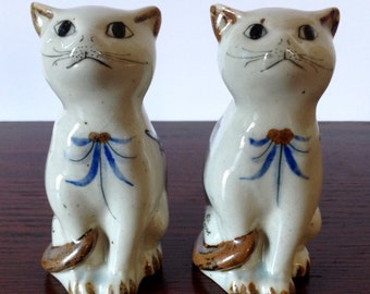 Set of El Palomar Stoneware Cats Tonala Style, Hand Painted, Ken Edwards