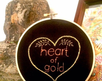 Heart of Gold Handmade Embroidery