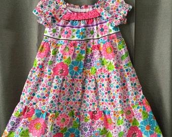 multi colored short-sleeve dress