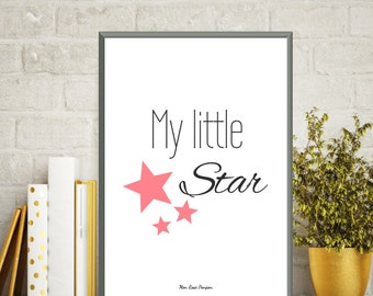 Baby girl wall art, Baby girl nursery, Quote my little star, Baby love poster, Baby girl decor, Poster quote, Quote baby, Nursery wall decor