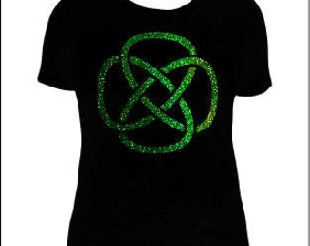 Celtic Knot Square Holographic T-Shirt for Her, Celtic Knot T-Shirt, Celtic Knot T-Shirts
