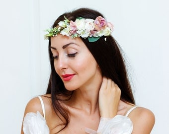 White pink flower crown Bridal floral crown Wedding flower crown Flower crown Flower hair wreath Girl flower crown Headpiece