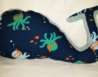 Decorative cushion Navy Blue Whale-shaped and blue sky for child