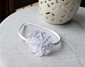 White Flower Headband, Satin Flower Headband, Flower Girl Gift, Wedding Accessory, Baptism Headband, Baptism Gift, White Headband