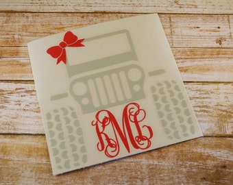 Jeep Monogram Decal, Jeep Decal with Bow, Monogram Jeep Decal, Jeep Girl Decal, Car Decal, Jeep Decal,  Monogram Decal, Yeti Decal