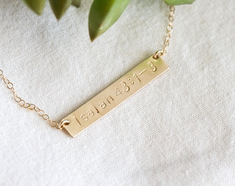 Scripture Verse Necklace - Scripture Gold Bar Necklace - Bible Verse Necklace - Gold Bar Necklace - Personalized Necklace - Gift for Her