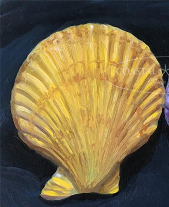 Scallop shells Oil Painting Sea Scallop Ocean Print