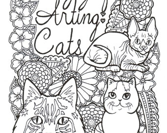 14 pages of cats coloring book adult coloring book printable adult coloring hand - Printable Adult Coloring Book