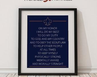 "Scout Oath Promise - Cub Scouts Blue and Gold - Fleur De Lis - Instant Download Digital Printable – 8 x 10"" Wall Art Home Decor"