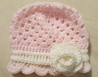 Pink and White Rose Baby Hat