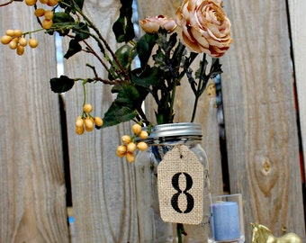 Burlap Painted Table Number Tags