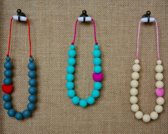 Heart Silicone Teething Necklace, Turquoise and Pink, Toddler Sensory Necklace, Heart Bead, Baby Necklace, BPA free, Baby Shower Gift