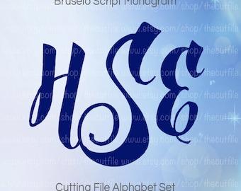 Script Monogram Font cutting file, Alphabet cut file set in svg eps dxf jpeg jpg format for silhouette or cricut
