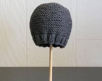 Knit Newborn Photography Prop Beanie Hat Grey Baby