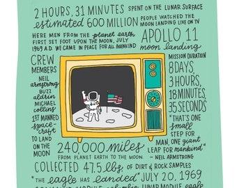 1969 Moon Landing Illustration Print