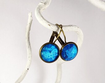 Earrings blue marbled