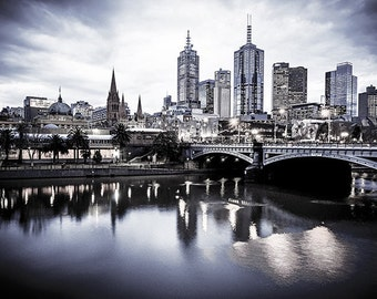 Melbourne photography fine art photograph city wallart urban decor View to Princes Bridge from Southgate Black and White