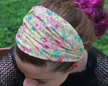 Girl's Yellow Headband Floral Headscarf Yellow Flowered Headwrap Retro Hair Scarf Vintage Look Head Wrap Headband (#2718)