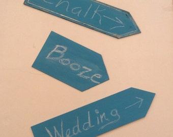 Turquoise chalkboard wedding arrows,