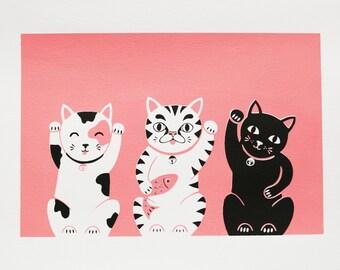 A4 Lucky Cats / Maneki Neko Screen Print