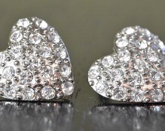 S.G. D'OR rhinestone heart clip on earrings