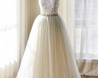 Gray Lace Strapless Wedding Dress Vintage Boho Style