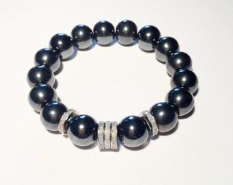 Hematite gemstone bracelet with 1.10 carat pave diamond