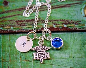 SALE - Sterling Silver Nurse Necklace - Nurse Gift - RN Necklace - Registered Nurse Day - Appreciation Gift - Stamped Birthstone Necklace