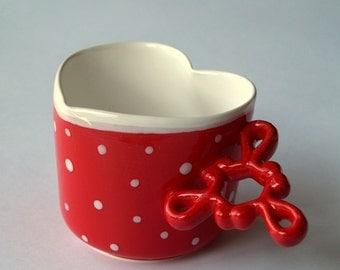 Art Ceramic Cup, Romantic Gift, Red Coffee Mug, Heart Mug, Polka Cup, Glazed Pottery Art, Fine Art Ceramic, Romantic Porcelain