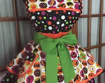 Halloween Apron - Full Halloween Apron -  Cute Halloween Apron - 1950s Retro Pin Up Apron