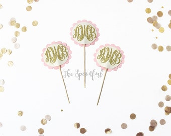 Personalized Monogram Cupcake Toppers, Gold Glitter Monogram Cupcake Toppers, Monogram Cupcake Toppers